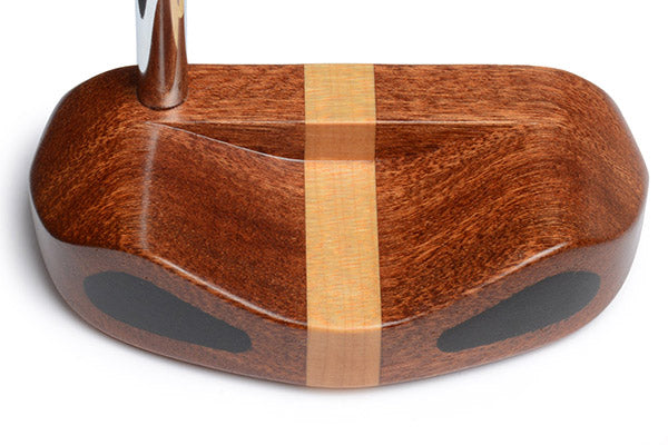 cp2020 mallet putter with mahogany and maple - caney putterworks