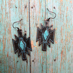 Ganado Navajo shaped earrings with turquoise center in bronze patina.