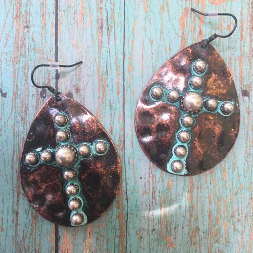 Teardrop shaped western cross earrings in bronze patina.