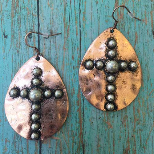 Teardrop shaped western cross earrings in copper.