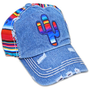 Distressed serape cactus hat in denim.