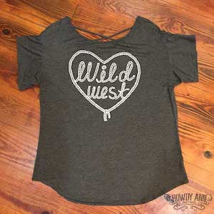 Women's grey top with Wild West lettering surrounded by a rope heart.
