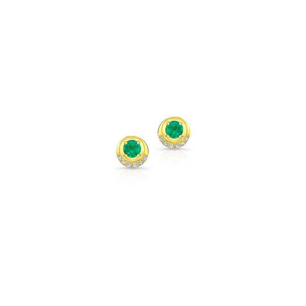 Diamond Pave Emerald Earrings