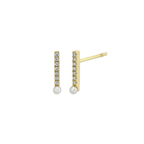 Diamond Bar Stud Earrings With Pearl Drop