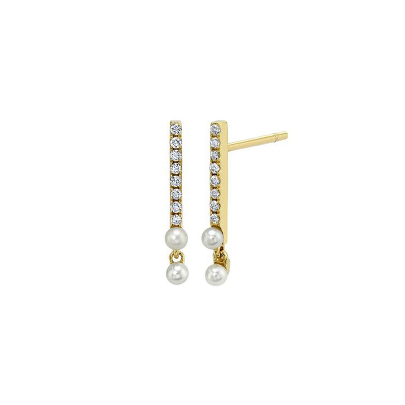 Diamond Bar Stud Earrings With 2 Pearl Drops