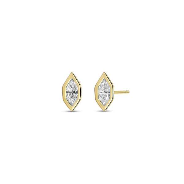 Fancy Marquise Diamond Angular Bezel Stud Earrings