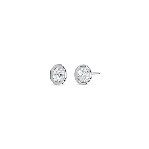 Fancy Oval Diamond Angular Bezel Stud Earrings