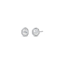 Small Fancy Oval Diamond Angular Bezel Stud Earrings