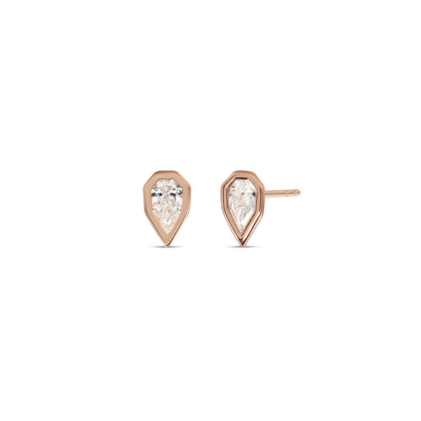Small Fancy Pear Shape Diamond Angular Bezel Stud Earrings
