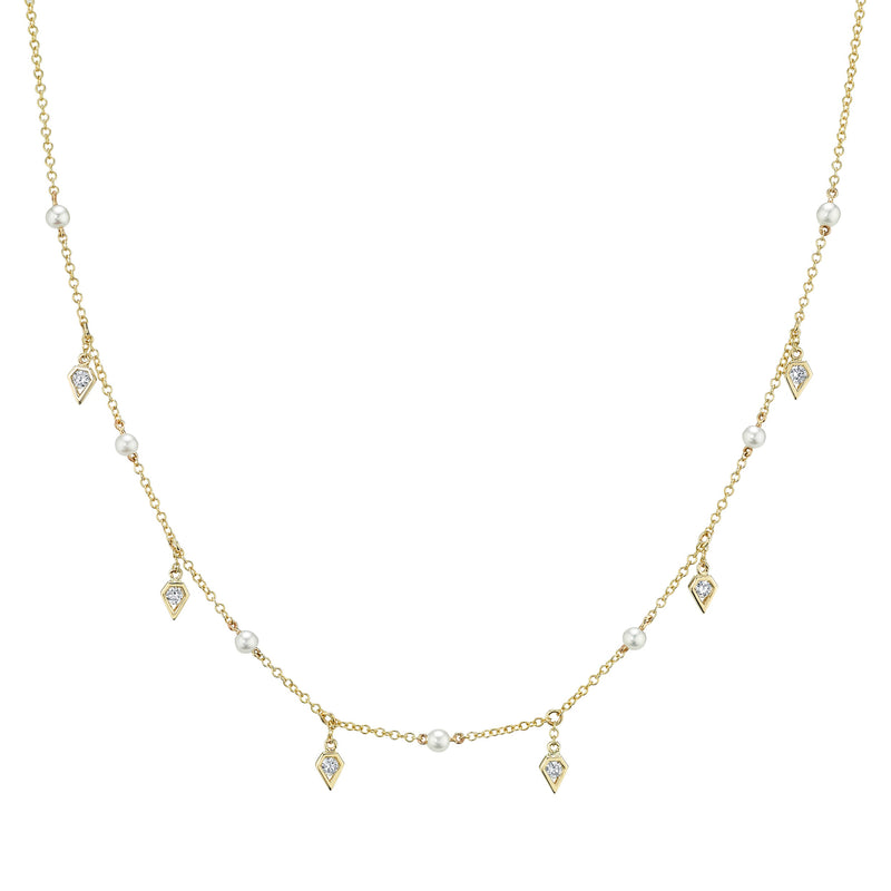 Birds of Paradise Diamond & Pearl Shaker Necklace