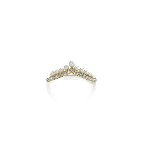 Diamond Pearl Tiara Ring
