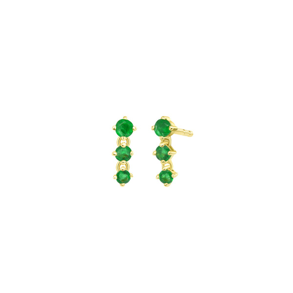 3 Stone Emerald Drop Earring