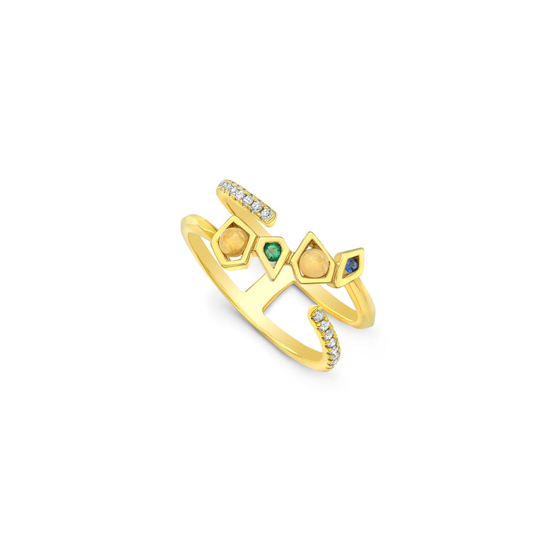 Diamond and Multi Gemstone Wrap Ring