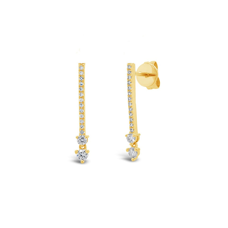Two Stone Diamond Stick Earrings
