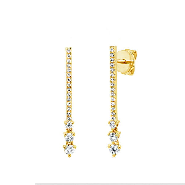 Three Stone Diamond Stick Earrings
