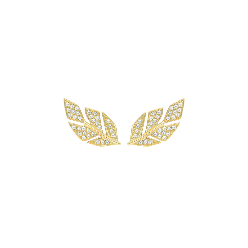 Diamond Pave Leaf Studs