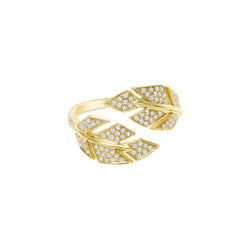 Diamond Pave Open Double Leaf Ring