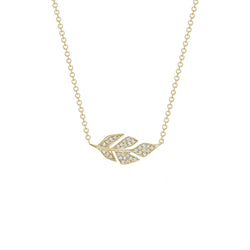 Diamond Pave Leaf Necklace