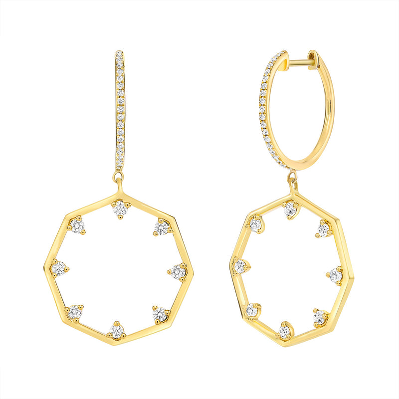 Diamond Octagon Earrings