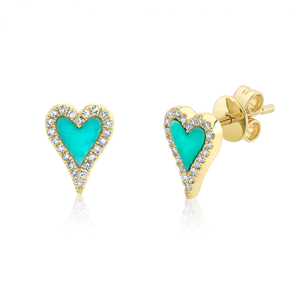 Diamond & Turquoise Heart Stud Earring