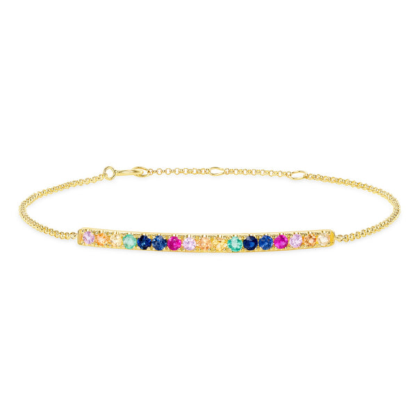 Multi Gemstone Rainbow Bar Bracelet