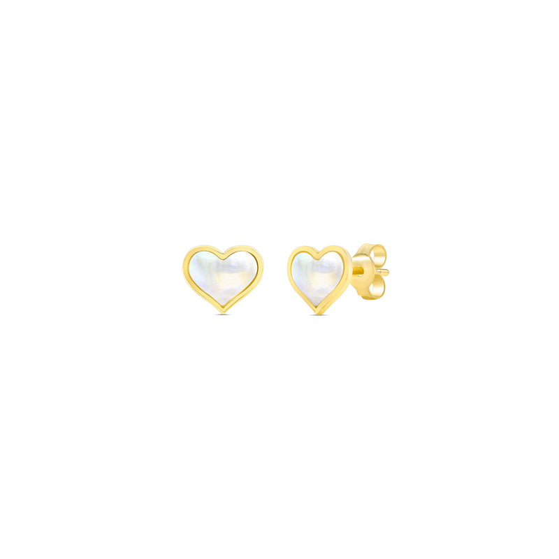 Mother of Pearl Heart Studs