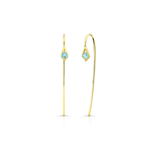 PARADISE POINT AQUAMARINE WIRE EARRING