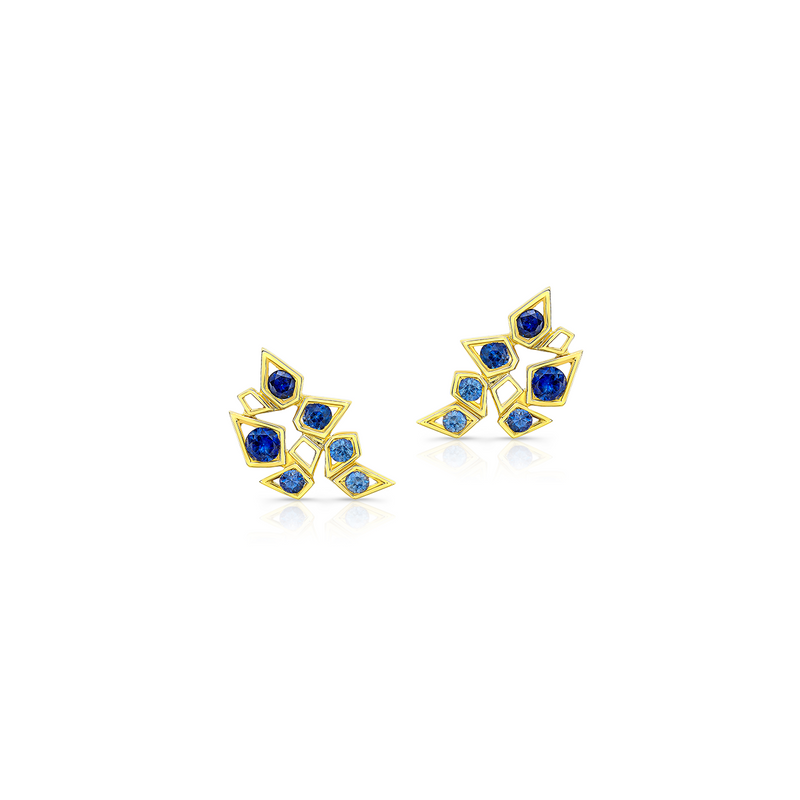 Ombré Sapphire Blooming Studs