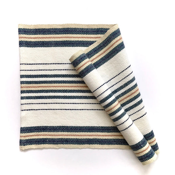 Striped Herringbone Runner - Snow White