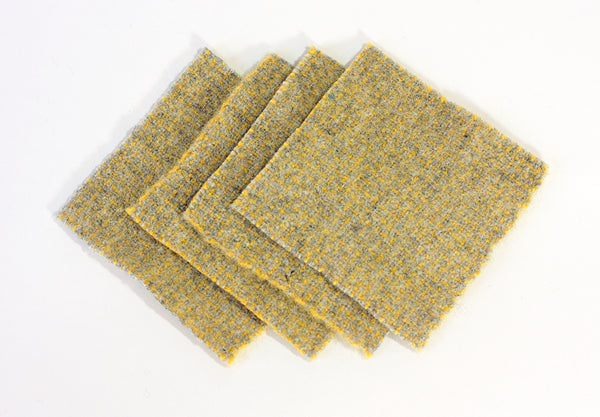 Felted Coaster in Yellow and Grey (4)