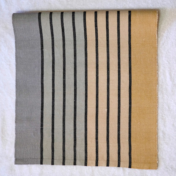 Silver & Gold Striped Table Runner with white linen weft