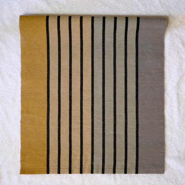 Silver & Gold Striped Table Runner with natural Linen weft