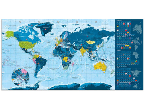 Blue world map-whiteboard (scrawled) 106870