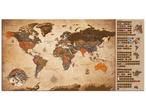 Vintage World Map-blackboard (scrawleed) 106885