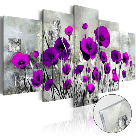Akrila apdruka - Meadow: Purple Poppies [Stikls]
