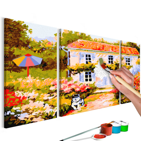 DIY glezna uz audekla - Country House 80x50 cm
