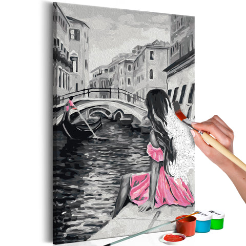 DIY glezna uz audekla - Venice (A Girl In A Pink Dress) 40x60 cm