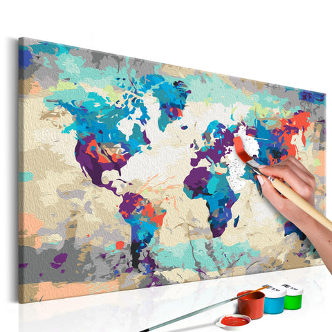 DIY glezna uz audekla - World Map (Blue & Red) 60x40 cm