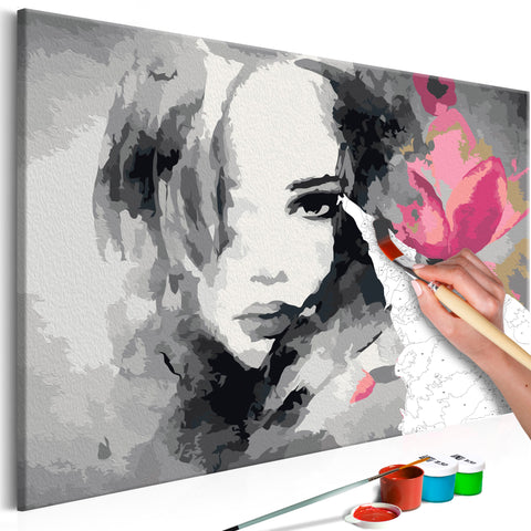 DIY glezna uz audekla - Black & White Portrait With A Pink Flower 60x40 cm