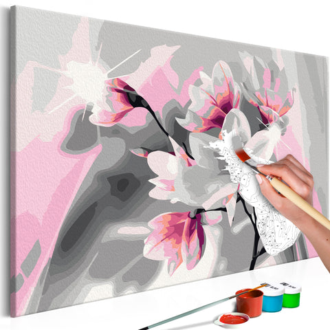 DIY glezna uz audekla - Magnolia (Grey Background) 60x40 cm