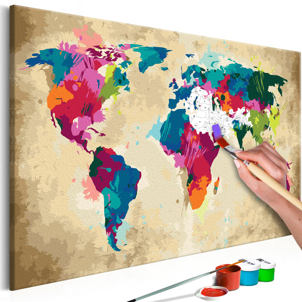 DIY glezna uz audekla - World Map (Colourful) 60x40 cm