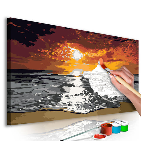 DIY glezna uz audekla - Sea (Sky In Flames) 80x40 cm