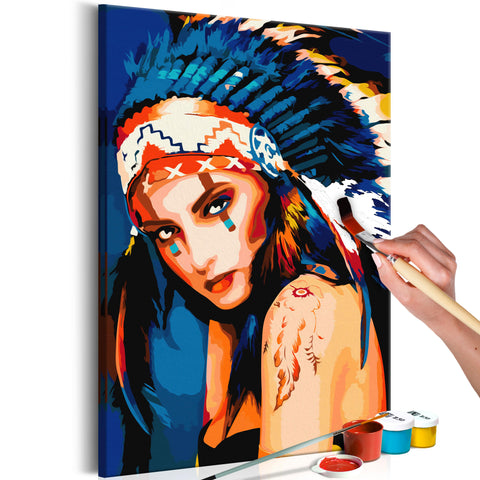 DIY glezna uz audekla - Native American Girl 40x60 cm