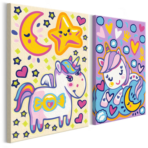 DIY glezna uz audekla - Unicorns (Good Morning & Good Night) 33x23 cm