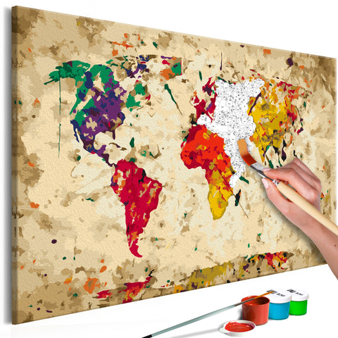 DIY glezna uz audekla - World Map (Colour Splashes) 60x40 cm