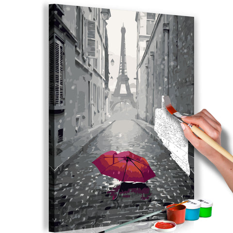 DIY glezna uz audekla - Paris (Red Umbrella) 40x60 cm