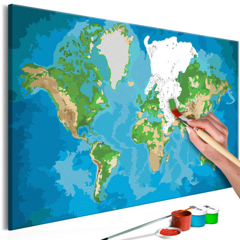 DIY glezna uz audekla - World Map (Blue & Green) 60x40 cm