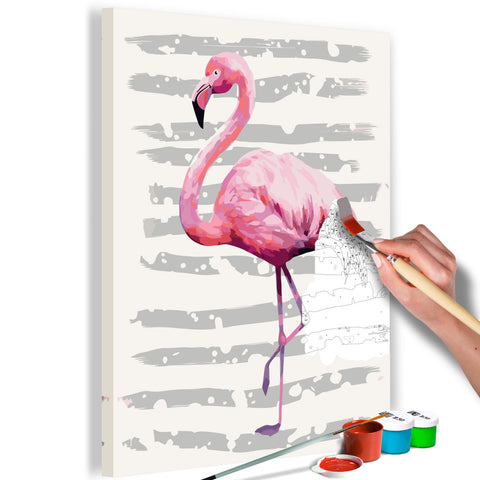 DIY glezna uz audekla - Beautiful Flamingo 40x60 cm