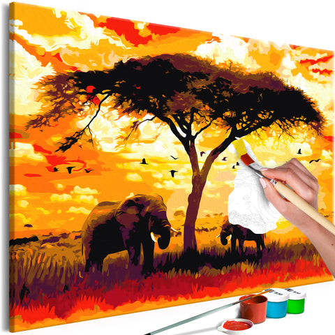 DIY glezna uz audekla - Africa at Sunset (120x80 cm)