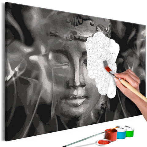DIY glezna uz audekla - Buddha in Black and White 60x40 cm